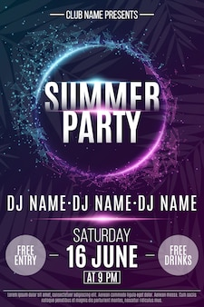 Flyer for the summer party. abstract neon round banner with flying luminous geometric particles.