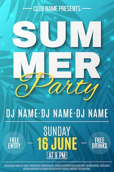 Flyer for summer party. text banner with flying luminous lights. blue background with pattern of palm trees. dance night party.