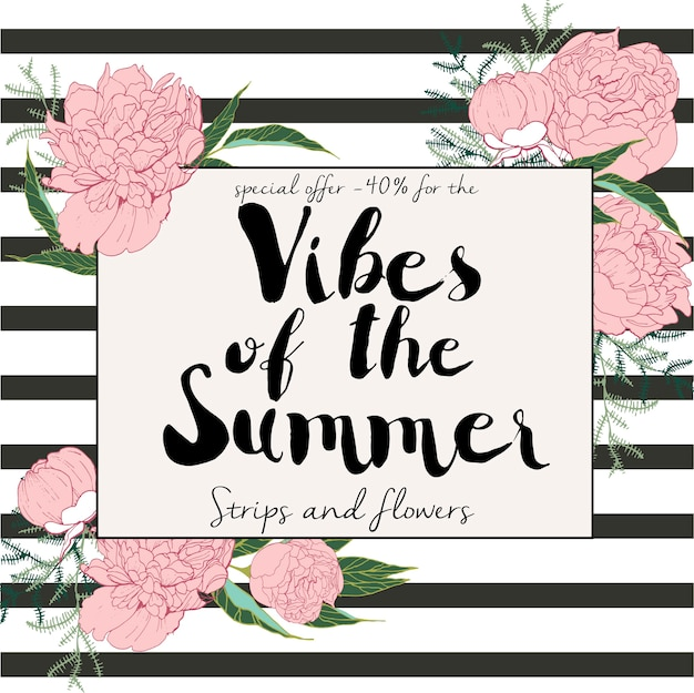 Flyer of summer sale. summer vibes strips and flowers. hand drawn banner. engraved