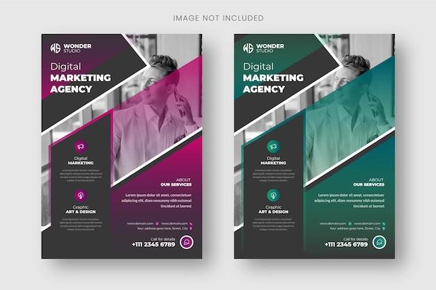 Шаблон флаера и дизайн обложки брошюры