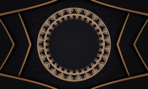 Шаблон флаера черного цвета с коричневым орнаментом мандалы