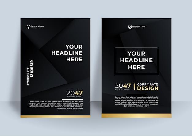 플라이어 템플릿 블랙 골드 커버 디자인 레이아웃 비즈니스에 대 한 설정.