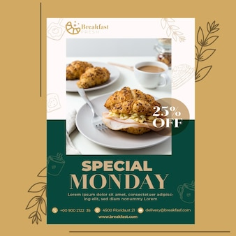 Flyer template for breakfast restaurant