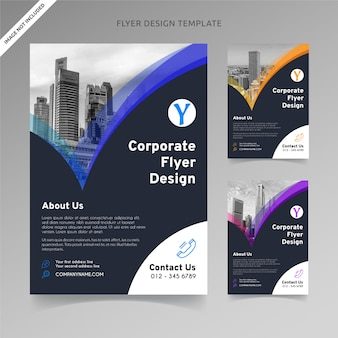 Flyer template design blended checklist 3 color choices, organized layer