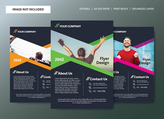 Flyer template design with 3 color choices