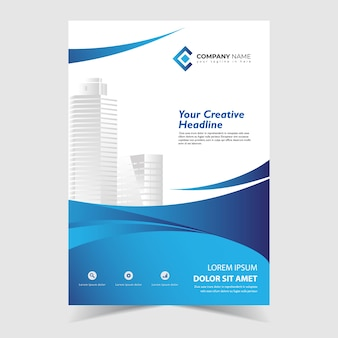 Flyer template design with blue wavy shapes design