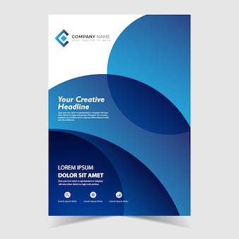 Flyer template design with circle blue wavy shapes design
