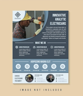Flyer template design with headline is innovative analytic electricians space of photo collage
