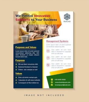 Flyer template design with headline is innovative solutions for your business space of photo