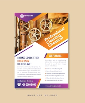 Flyer template design with headline is professional cleaning chemical space of photo advertising
