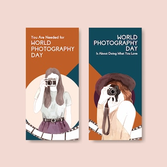 Flyer template design with world photography day for advertise and marketing