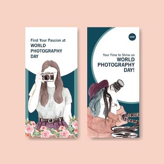 Modello di progettazione volantino con giornata mondiale della fotografia per pubblicità e marketing
