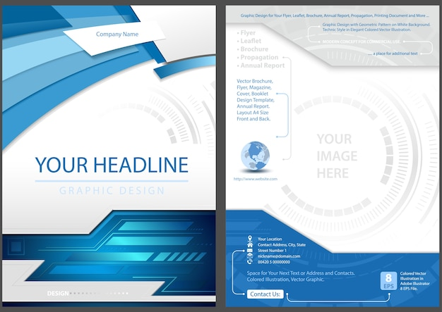 Flyer template front and back design in blue tech style