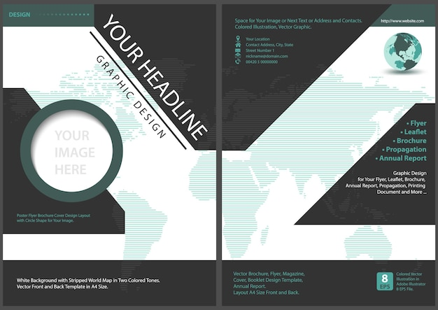 Flyer template front and back design with striped world map background
