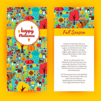Flyer template of happy autumn. vector illustration of fall seasonal concept.