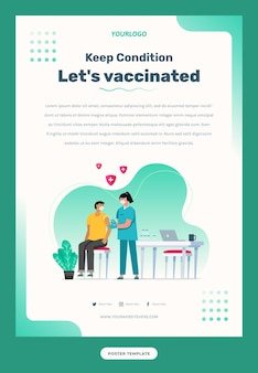 Flyer template illustration of a nurse vaccinating a patient with a syringe vaccine bottle table