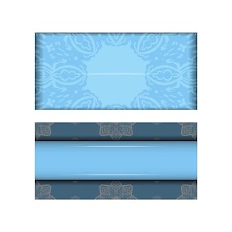 축하를 위해 그리스 흰색 패턴이 있는 파란색의 전단지 템플릿.