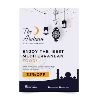 Flyer template for mediterranean food restaurant