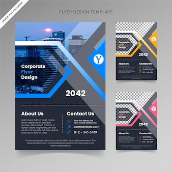 Flyer template modern fast stripe with 3 color choices