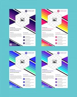 Флаер шаблон или дизайн обложки. дизайн макета первой страницы формата а4. шестигранные формы.