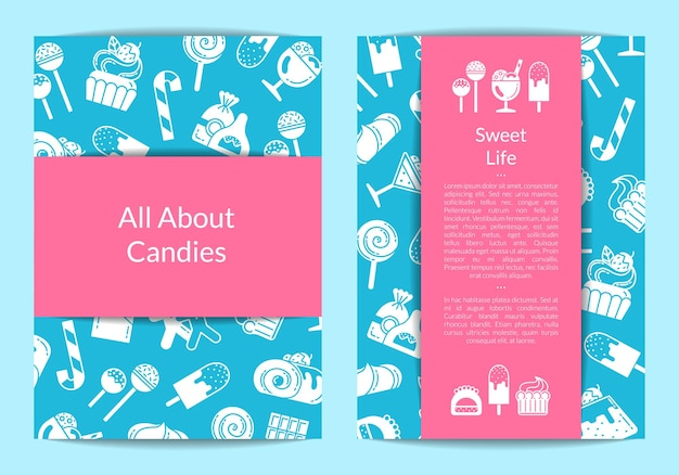 Flyer template for pastry or confectionary shop with flat style