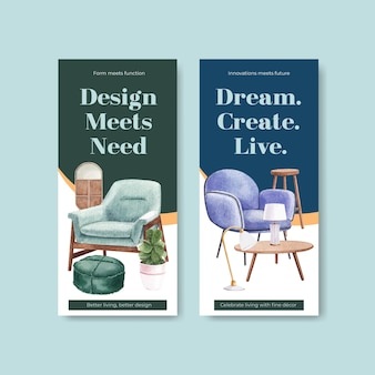 Flyer template set with luxury furniture in watercolor style