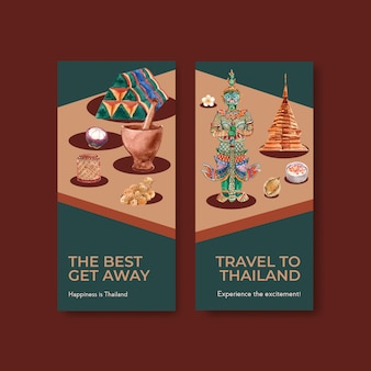 Modello di volantino impostato con viaggi in thailandia per brochure in stile acquerello