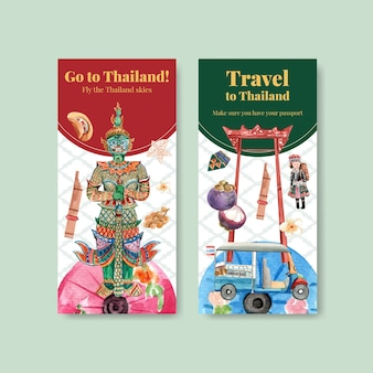 水彩風のパンフレットのためのタイ旅行で設定されたチラシテンプレート