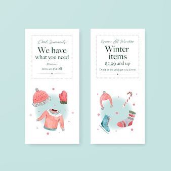 Flyer template set with winter sale for brochure,advertise,marketing and leaflet in watercolor style