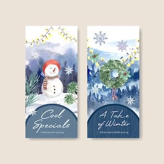 Flyer template set with winter sale for brochure in watercolor style