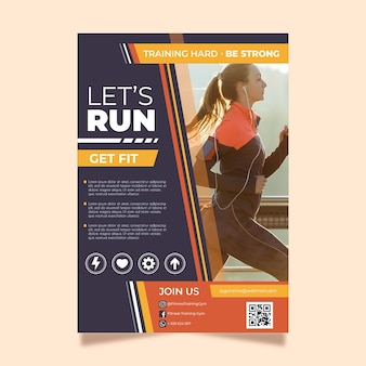 Flyer template for sports with photo