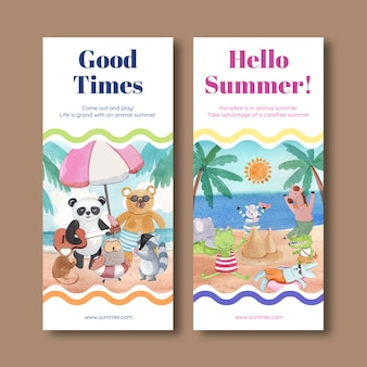 Flyer template with animals in summer in watercoor style