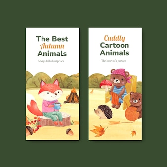 Flyer template with autumn animal in watercolor style