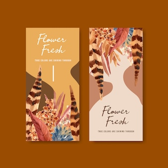 Flyer template with autumn flower concept design for brochure and leaflet