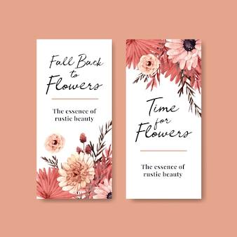 안내 책자와 전단지에 대 한가 꽃 컨셉 디자인 전단지 템플릿