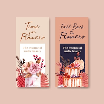 パンフレットやリーフレットの秋の花のコンセプトデザインのチラシテンプレート