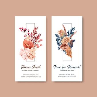 Шаблон флаера с концептуальным дизайном осеннего цветка для брошюры и листовки
