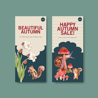 秋の森と動物のチラシテンプレート