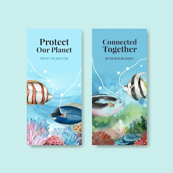 Flyer template with biodiversity as natural wildlife species or fauna protection