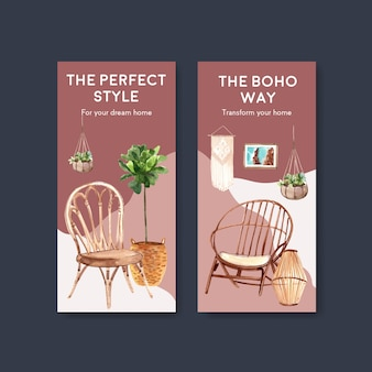 Flyer template with boho furniture concept design for brochure and leaflet watercolor illustration