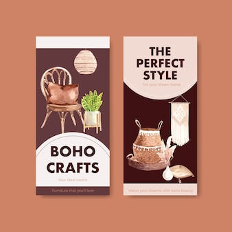 Шаблон флаера с концептуальным дизайном мебели в стиле бохо для акварельной иллюстрации брошюры и листовки