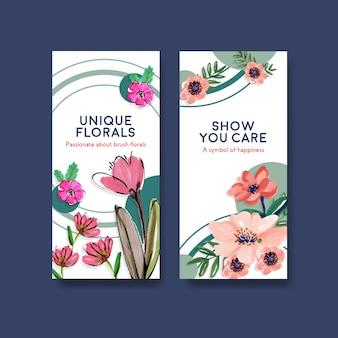 Шаблон флаера с кистью цветочные концепции дизайна для брошюры и листовки акварель
