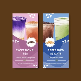 Flyer template with bubble milk tea