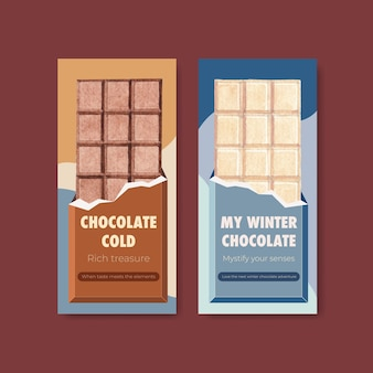 Flyer template with chocolate winter concept design for brochure  and leaflet watercolor vector illustration