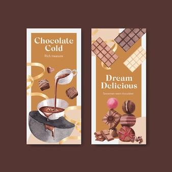 브로셔 및 전단지 수채화 벡터 일러스트 레이 션에 대 한 초콜릿 겨울 컨셉 디자인 전단 템플릿