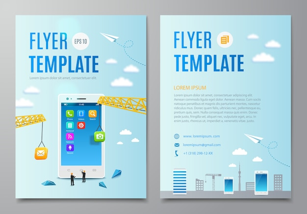 Flyer template with construction smartphone