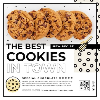 Flyer template with cookies photo