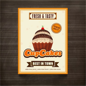 Flyer template with cupcake and orange elements