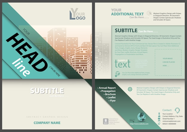 Flyer template with diagonal stripes and dotted city skyline