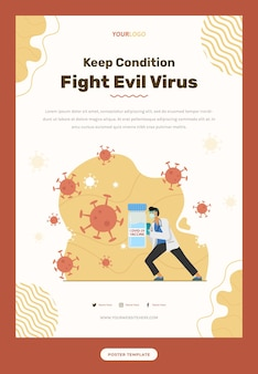 マスクとワクチンでウイルスと戦う医師のイラストとチラシテンプレート